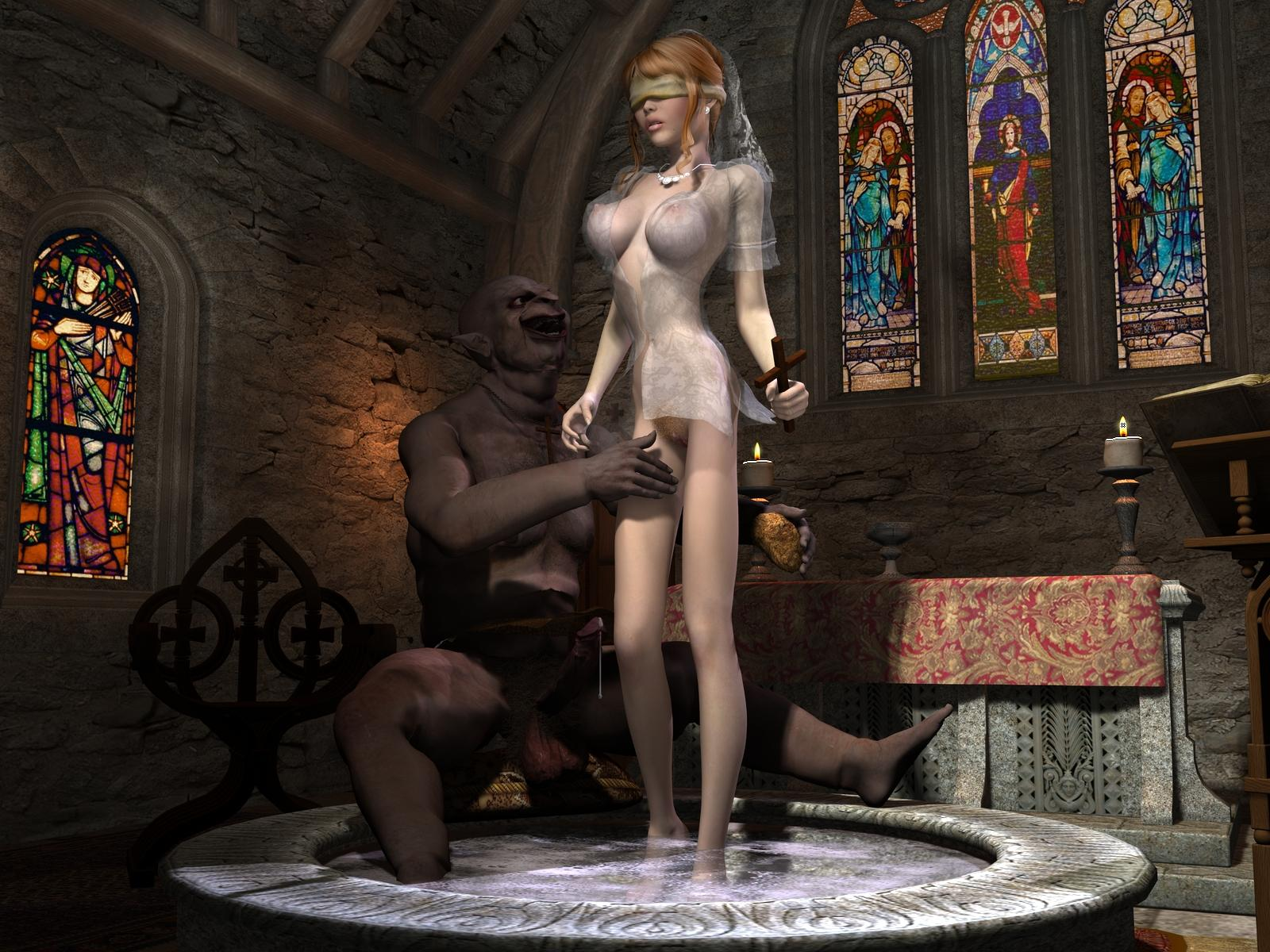 3d sex goblin priest redhead cartoon scene