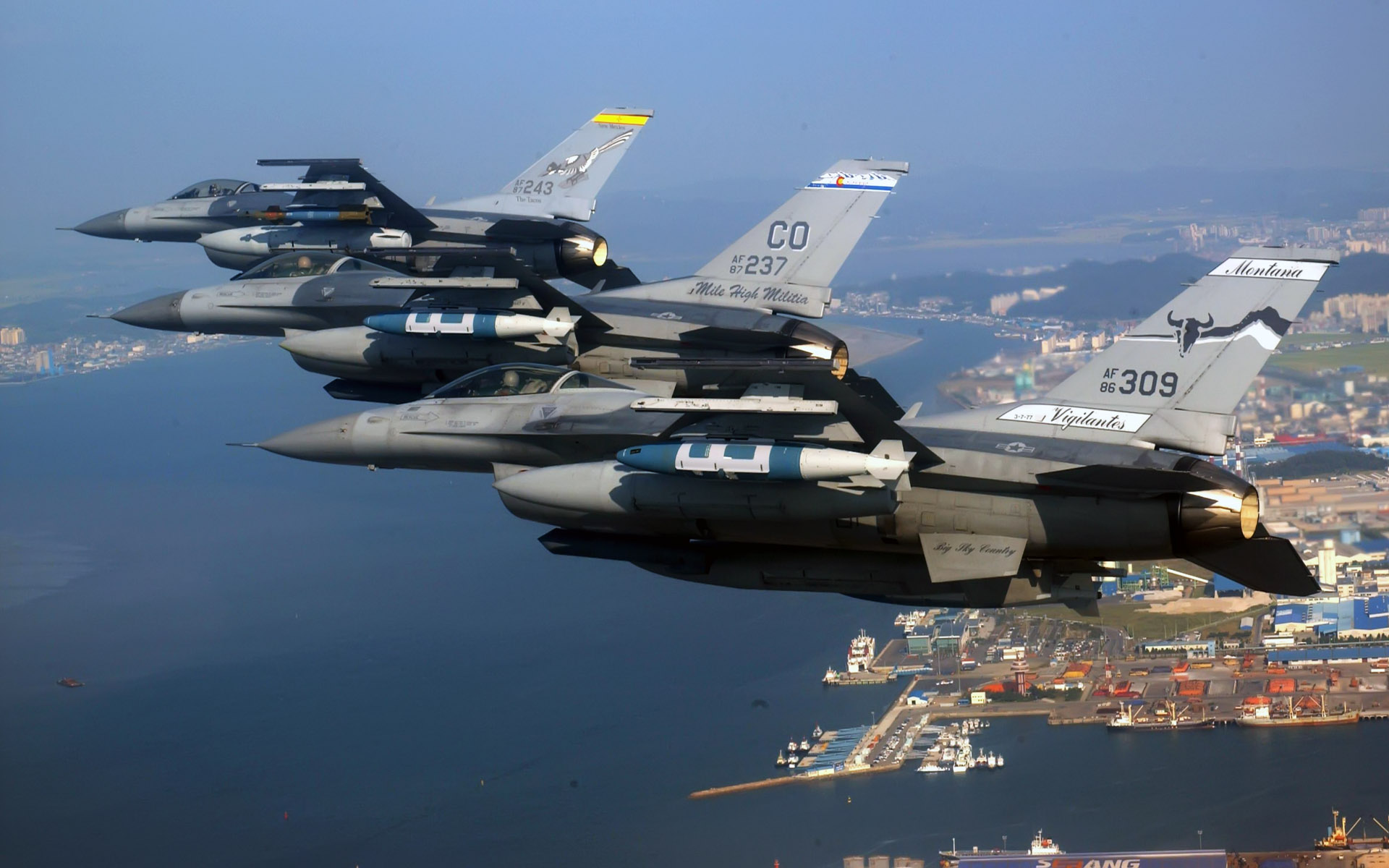 air national guard f 16 fighting falcons wide