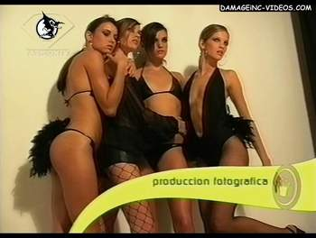 Teen models in black lingerie video